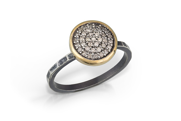 Pave Diamond Ring with Gold Bezel