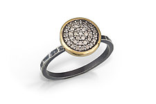 Pave Diamond Ring with Gold Bezel by Chihiro Makio (Gold, Silver & Stone Ring)