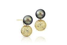 Tahitian Pearls Earrings by Baiyang Qiu (Gold & Pearl Earrings)
