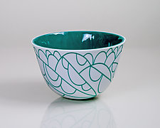 Vessel Composition 26: Teal Arcs by Jim Scheller (Art Glass Bowl)