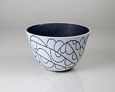 Vessel Composition 31: Steel Blue Arcs by Jim Scheller (Art Glass Bowl)