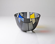 Vessel Composition 10: Color Planes in Shades of Gray by Jim Scheller (Art Glass Bowl)