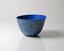 Vessel Composition 15: Marigold Arcs on Egyptian Blue by Jim Scheller (Art Glass Bowl)
