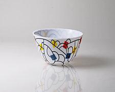 Vessel Composition 13: Arcs With Color Patches by Jim Scheller (Art Glass Bowl)