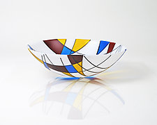 Composition with Color Planes, Lines and Arcs by Jim Scheller (Art Glass Bowl)