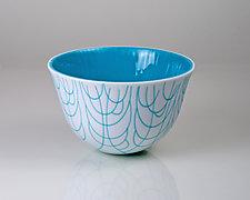 Vessel Composition 28: Turquoise Arcs by Jim Scheller (Art Glass Bowl)