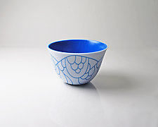 Vessel Composition 17: Egyptian Blue Arcs by Jim Scheller (Art Glass Bowl)