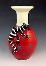 The Lizard Loves Red by Lisa Scroggins (Ceramic Vase)