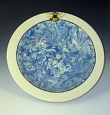 Bee in the Clouds Bowl by Lisa Scroggins (Ceramic Bowl)
