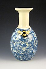 Bee in the Clouds Vase by Lisa Scroggins (Ceramic Vase)