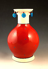 Jeweled Red Vase by Lisa Scroggins (Ceramic Vase)