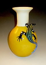 Yellow Vase with Blue Tailed Skink by Lisa Scroggins (Ceramic Vase)