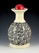 In Between the Lines Vase by Lisa Scroggins (Ceramic Vase)