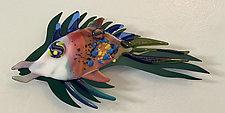 Flying Fish VI by Sabra Richards (Art Glass Wall Sculpture)