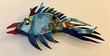 Flying Fish XVI by Sabra Richards (Art Glass Wall Sculpture)