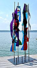 Marsh Grasses IV by Sabra Richards (Art Glass Sculpture)