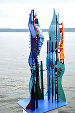 Marsh Grasses II by Sabra Richards (Art Glass Sculpture)