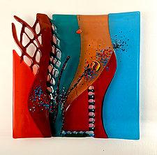 Cross Winds by Sabra Richards (Art Glass Wall Sculpture)