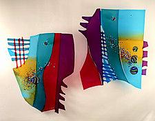 Ocean Sun by Sabra Richards (Art Glass Wall Sculpture)