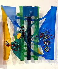 Early Spring by Sabra Richards (Art Glass Wall Sculpture)