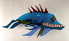 Alaskan Fierce Blue II by Sabra Richards (Art Glass Wall Sculpture)