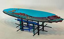 River Run Blue by Sabra Richards (Art Glass Sculpture)