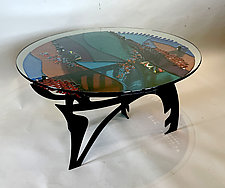 Iceland Blues by Sabra Richards (Art Glass Coffee Table)