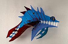 Alaskan Fierce Blue III by Sabra Richards (Art Glass Wall Sculpture)