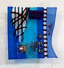 Jazz Man Blues by Sabra Richards (Art Glass Wall Sculpture)