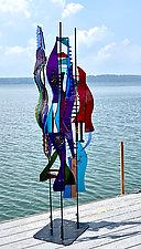 Marsh Grasses Trio by Sabra Richards (Art Glass Sculpture)