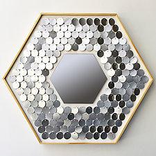 Shimmering Hexagon with Mirror by Hannah & Nemo (Metal Mirror)