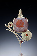 Flower Brooch by Ilene Schwartz (Gold & Stone Brooch)