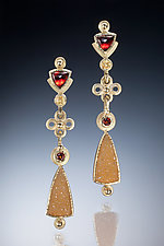 Garnet and Drusy Drop Earrings by Ilene Schwartz (Gold & Stone Earrings)