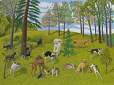 The Dog Park II by Jane Troup (Giclee Print)