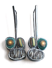 Triple Pebble Drop by David Forlano and Steve Ford (Silver & Polymer Earrings)