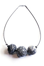 Black and White Big Bead Necklace by David Forlano and Steve Ford (Polymer Clay Necklace)