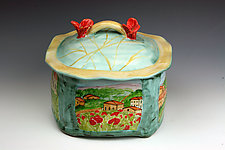 Italian-Themed Square Box by Peggy Crago (Ceramic Box)