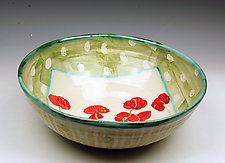 Large Bowl with Poppies by Peggy Crago (Ceramic Bowl)