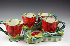Poppy Cups on Vine Tray by Peggy Crago (Ceramic Tray & Mugs)