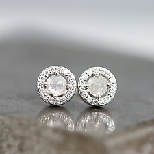 Rose-Cut Diamond Halo Earrings by Sarah Hood (Gold & Stone Earrings)
