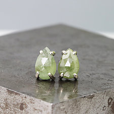 Rose-Cut Pear Green Sapphire Stud Earrings by Sarah Hood (Gold & Stone Earrings)