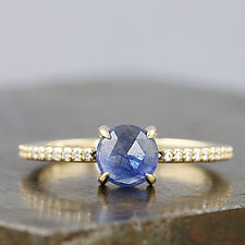 14K Yellow Gold Ring with Rose-Cut Sapphire and Moissanite Pavé by Sarah Hood (Gold & Stone Ring)
