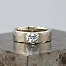 White Gold Artifact Ring with Aquamarine by Sarah Hood (Gold & Stone Ring)