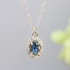 Diamond Halo Pendant with Blue Sapphire by Sarah Hood (Gold & Stone Necklace)
