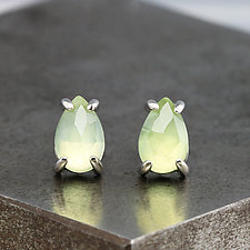 Rose-Cut Pear Prehnite Stud Earrings by Sarah Hood (Gold & Stone Earrings)
