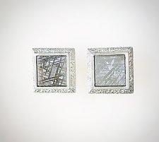 Sterling Silver Earrings with Meteorite Slices by Susan Barth (Silver & Meteorite Earrings)
