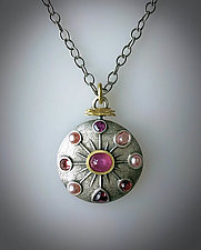 The Many Shades of Pink Pendant by Susan Barth (Gold, Silver, Stone & Pearl Necklace)