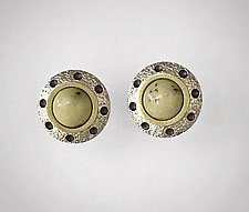 Green Leopard Jasper Stud Earrings by Susan Barth (Silver & Stone Earrings)