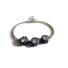 Silver and Cubic Zirconia Linked Bracelet by Virginia Stevens (Silver & Stone Bracelet)