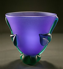 Cobalt Green Botanical Bowl: Mid-Size by Tommie Rush (Art Glass Vessel)